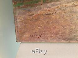 Huile sur toile, paysage avec personnages, signée Etienne Furlaud