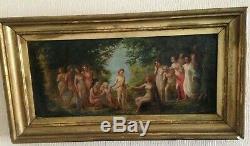 Huile sur toile, peinture, Scène Mythologique, sherubin et femmes, XIXème