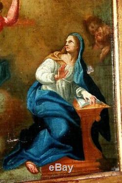 Huile sur toile peinture l' Annonciation début XVIIIe Siècle