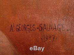 Huile sur toile, portrait de femme, Georges SAUVAGE, 1907 Tableau ancien