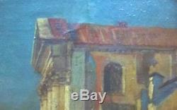 Huile sur toile scène de port Lapostolet