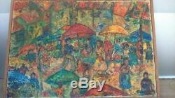 Huile sur toile signée. Oil on canvas signed Scene de marché colorée