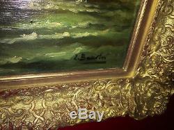 Huile sur toile signée Scène de marine animée d'époque XIXe Cadre doré