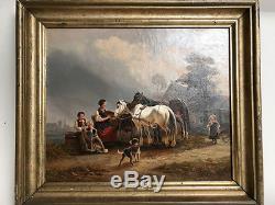 Huile sur toile signée, encadrée scène animée de cour de ferme