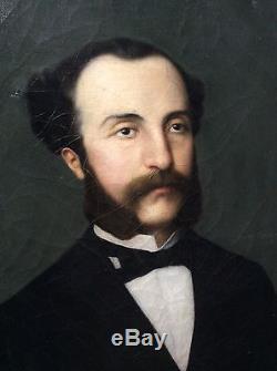 Huile sur toile tableau peinture 19è portrait de notable signé Anna Deroguet