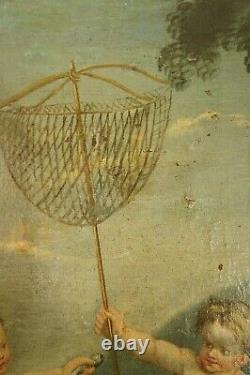 Huile/toile École FLAMANDE XVIIIe Putti pêcheurs Expertisé + cadre feuille d'or