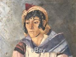 Huile/toile Femme Orientale A Restaurer
