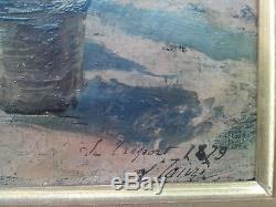 Huile toile Impressionnisme Le Tréport 1878 signée marine pêcheurs Noël Boudin