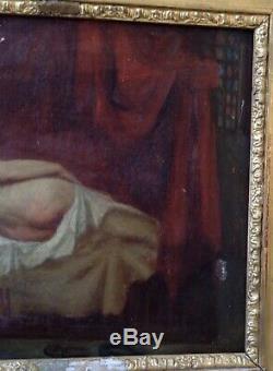 Huile toile Jean Jacques HENNER Rousse nue cadre Régence XIX (A RESTAURER)