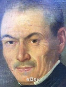 Huile/toile Portrait D Homme A Restaurer Signe Daté 1867