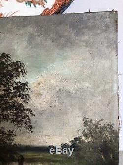 Huile toile peinture tableau ECOLE BARBIZON Adrien Rousseau (1814-1851) XIXe 19e