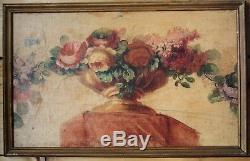 Huiles-ensemble-suite De 4 Peintures-bouquet-fleurs-decoration-trompe L Oeil
