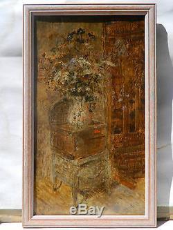 IMPRESSIONNISTE Signé illisible 1898 NATURE MORTE FLEURS Tableau Peinture Huile