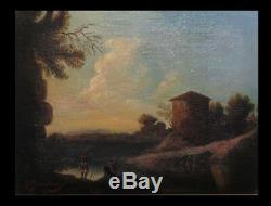 ITALIA Huile sur toile signée A. GIRAUDEAU Paysage lacustre. C. 1830