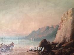 IZARIE-RIVIERE (XIX-XXe) Grand Tableau Ancien Marine Falaise vue Mer Huile