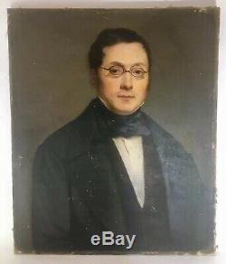 Important Portrait Peinture Huile sur Toile Homme Lunettes Signé J. PAPIN XIX ème