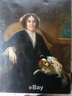 Important Tableau ancien/ Huile/toile-Portrait Femme et son chien -XIXe-OIL