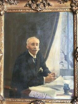 Indochine Portrait d'homme Huile sur toile 1930 Cadre doré mouluré