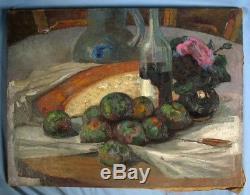 Intéressante huile sur toile Nature morte aux fruits, vin et rose