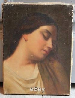 JEUNE FEMME ENDORMIE MAGNIFIQUE TABLEAU 19ème SIECLE HUILE SUR TOILE