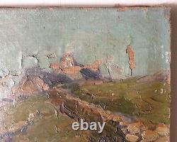 Jean BERNE BELLECOUR Tableau XIXe Paysage Impressionniste Breton Huile Toile