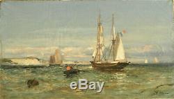 Jean Baptiste Olive(1848-1936). Huile sur toile Paysage marin- v895