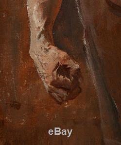 Jean-Paul LAURENS tableau huile portrait ouvrier forge homme torse nu masculin