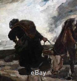 Jean Roque 1880-1925. Grande & Puissante Toile 1913. Paysanne Rentrant Sa Vache