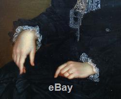 Jeanne Lombard Portrait de femme Ecole suisse du XIXème siècle Huile sur toile