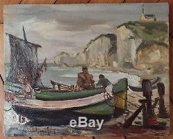 Jeff Friboulet huile sur toile signée Yport Normandie Pêcheurs Mer Etretat