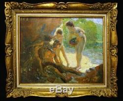 Jeunes gens nus Tableau huile toile Monogramme