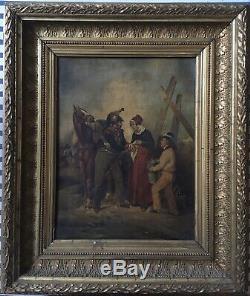 Joli Tableau XIXème Blessure du Cuirassier HsT Guerre 1870 Militaire Soin France