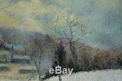 Jos Beerden, 1917, Paysage animé sous la neige, Huile sur toile, Circa 1950