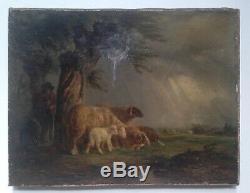 Joseph François PARIS (1784-1871) Berger Moutons Orage Huile signée 19eme c1850