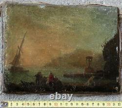 Joseph Vernet 1714-1789. Atelier (at). Charmante Scène Portuaire Au Crépuscule