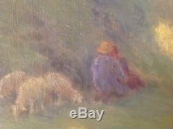 Jules Louis RAME Impressionniste Normand Vallon aux moutons Huile Toile c1919