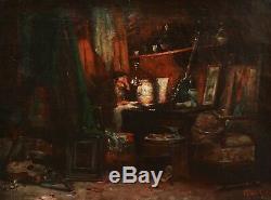 Jules ROUSSET tableau autoportrait artiste atelier peintre homme dessinant Rome