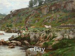 Jules ROUSSET tableau paysage huile montagnes rivière troupeau vaches bergère