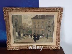 Jules René Hervé Huile sur toile scène de village vers 1910