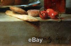 Jules VITTALY (1850-1912) La Brioche, 1876, d'après Chardin nature morte tableau