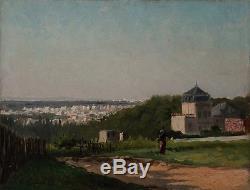 Justin GABRIEL (1838-1923) VUE DE PARIS BOIS DE BOULOGNE HUILE SUR TOILE