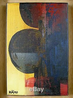 LADISLAS KIJNO TABLEAU COMPOSITION HUILE /S TOILE ORIGINALE Ca. 1980 STREET ART
