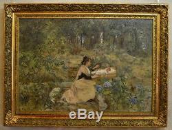 LAHAYE Alexis (1850-1914) Arlésienne et son enfant Nîmes Avignon Provence