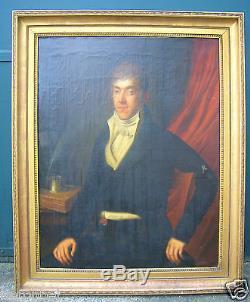 LANDTSHEER 1806 TABLEAU PORTRAIT NOTABLE JEUNE HOMME HUILE / TOILE CADRE EMPIRE