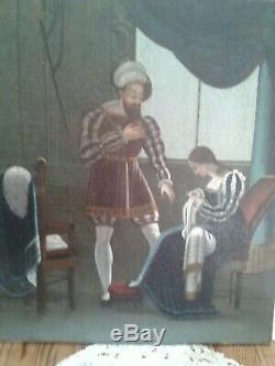 LA COUSEUSE ET LE GENTILHOMME Dans le goût Renaissance, Huile sur toile