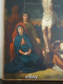 LA CRUCIFIXION DU CHRIST-MAGNIFIQUE PEINTURE DU XIXe-LE BEL ESPRIT DE INGRES