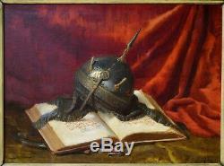 LEFEBVRE Ernest (1850-1889) Nature morte au Coran et au casque Ottoman Havre