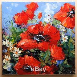 Les coquelicots art tableau peinture huile toile oil for Tableau de coquelicot en peinture