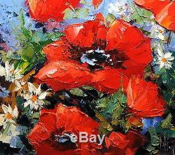LES COQUELICOTS art tableau peinture huile toile oil painting PFLEGER MANDRAFINA