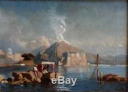 LUMINEUX PAYSAGE D'ITALIE XIXe. VUE DE LA BAIE DE NAPLES AVEC PÊCHEURS & VÉSUVE